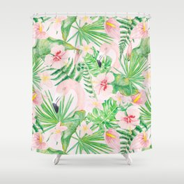 My pink Flamingo and Palm Leaves Aloha Tropical Jungle Garden Shower Curtain