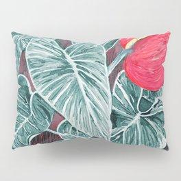 Pop Anthurium Leafs and Flowers Pillow Sham