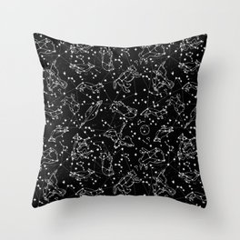 Constellations animal constellations stars outer space night sky pattern by andrea lauren black Throw Pillow