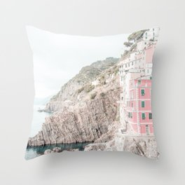 Positano, Italy pink-peach-white travel photography in hd. Throw Pillow