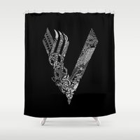 vikings Shower Curtains featuring Black Vikings by Fiorella Modolo