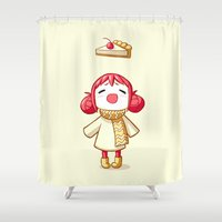 pie Shower Curtains featuring Cherry Pie by Freeminds
