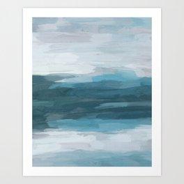 Teal Ocean Blue Gray Abstract Nature Art Painting Art Print