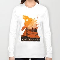 godzilla Long Sleeve T-shirts featuring Godzilla  by tim weakland