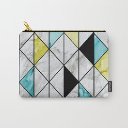 Marble Colorblocking with Yellow and Turquoise Carry-All Pouch