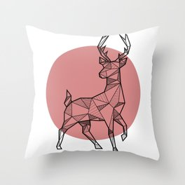 Deer - Geometric Animals Throw Pillow