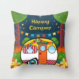 Happy Camper Retro RV Throw Pillow
