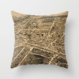 Vintage Pictorial Map of Durham NC (1891) Throw Pillow