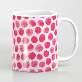 Large Red/Pink Watercolor Polka Dot Pattern Coffee Mug