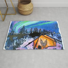 "'Camp Borealis"" Northern Lights - Original Art - Tent Camping Wall Decor - by Bryn Reynolds Rug"