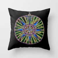 compass Throw Pillows featuring Compass by Charlie of Foss
