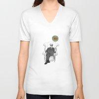 freud V-neck T-shirts featuring Freud by Roberta Zeta