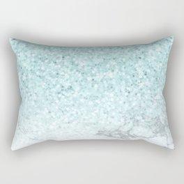 Turquoise Sea Mermaid Glitter Marble Rectangular Pillow