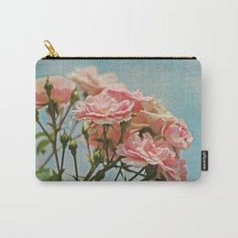 Vintage Inspired Pink Roses in Pastel Blue Sky with French Script Carry-All Pouch