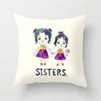 sisters Throw Pillows featuring Sisters by Chika Ando