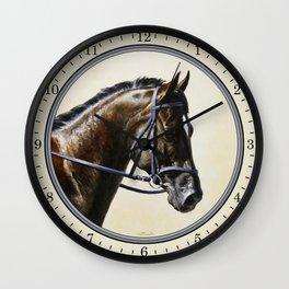 Dark Bay Dressage Horse Portrait Wall Clock