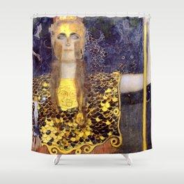 """Gustav Klimt """"Pallas Athene"""" Shower Curtain"""
