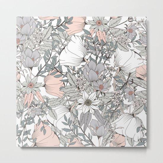 Gray and Pink Floral Pattern Metal Print