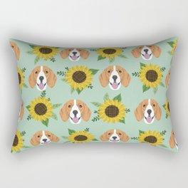 Beagles pattern floral sunflowers dog breed beagle art pet portrait pet friendly dog art Rectangular Pillow