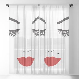 Beauty Face with Red Lips Sheer Curtain