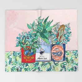 Jungle Botanical in Colorful Cans on Pink - Still Life Throw Blanket