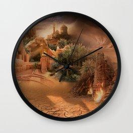 Desert paradise on the edge of Hell - Sandstorm Wall Clock