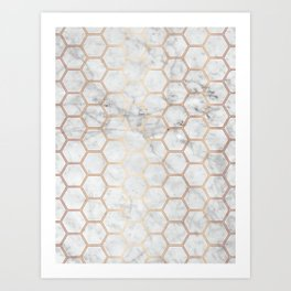 Honeycomb Marble Rose Gold #358 Art Print