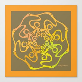 Hope Flower Mandala - Gold Brown Framed Canvas Print