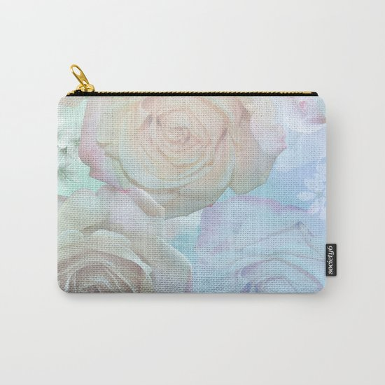 Romantic roses and tiny flowers in pastels Carry-All Pouch