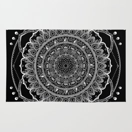 Black and White Geometric Mandala Rug