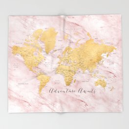 """Adventure awaits, gold and pink marble detailed world map, """"Sherry"""" Throw Blanket"""