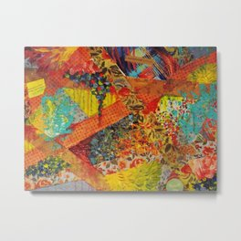 Pieces of Me - Gorgeous Bold Fabric Painting Collage Love Colorful Rainbow Yellow Red Stripes Floral Metal Print