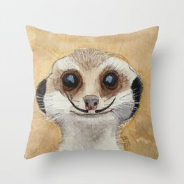 Meerkat 'Stache Throw Pillow