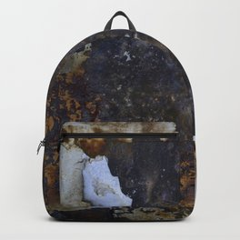 Old white paint on rusty metal Backpack