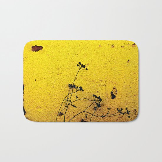 Minimal flora - Yellow wall and flowers Bath Mat