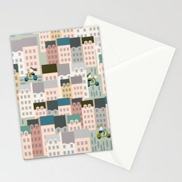 Motorbikes in the City Stationery Cards