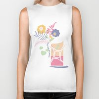 pocket fuel Biker Tanks featuring floral fuel by silviarossana