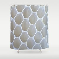 honeycomb Shower Curtains featuring Honeycomb by Ian Bevington