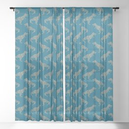 Floral T-Rex in Blue + Coral Sheer Curtain