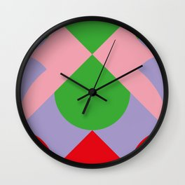 An upside down Pink Butterfly in a green, red and blue beautiful landscape. Green Sun. Wall Clock