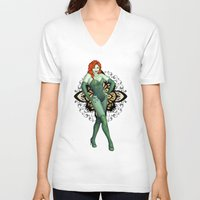 poison ivy V-neck T-shirts featuring Poison Ivy by CatAstrophe