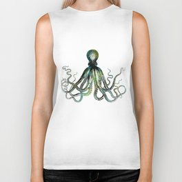 Octopus marine life watercolor art Biker Tank