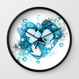 One Heart Watercolor In Blue Wall Clock