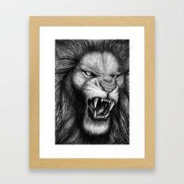 Hear Me Roar - Lion Drawing Framed Art Print