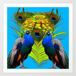 BLUE-GREEN PEACOCKS & LIME FEATHERS ART Art Print