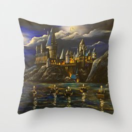 Castel at Starry night Throw Pillow