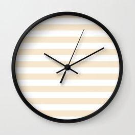 Narrow Horizontal Stripes - White and Champagne Orange Wall Clock