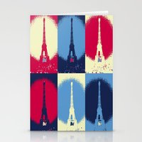 eiffel tower Stationery Cards featuring Eiffel Tower by Aloke Design