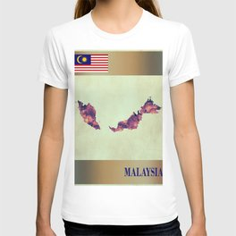 Malaysia Map with Flag T-shirt