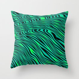 Neon Green and Black Jungle Stripes Pattern Throw Pillow